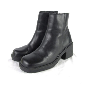 90s Black Leather Platform Ankle Boots Black Chunky Heel Boots Goth Grunge Boots Minimalist Black Ankle Boots (7.5)