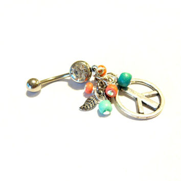 Peace Symbol Belly Button Ring, Peace Sign Body Jewelry, Hippie Belly Ring, Cool Body Piercings, Heishi Bead Jewelry, Dangle Navel Ring