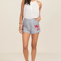 Rose Striped Floral Embroidery Structured Shorts