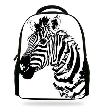 14inch Infantil kids Animals Bags For boys School Bags Zoo printing Zebra  Backpack child and girls