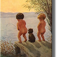 Boys By the Lake Distance Record Toilet Bathroom Picture on Stretched Canvas, Wall Art Decor Ready to Hang!.
