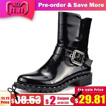 Odetina Autumn Winter Patent Leather Motorcycle Boots Female Side Zip Chunky Heels Fashion Buckle Ankle Boots Women Punk Boots