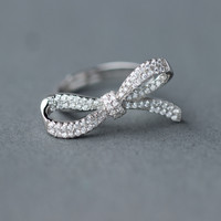 Fashion zircon bowknot 925 Sterling Silver opening ring, a perfect gift