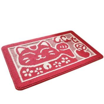 Fortune Cat Carpet Door Ground Foot Non-slip Mat   fortune cat red   40*60cm