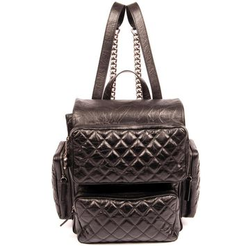 Chanel Backpack Calfskin Quilted Casual Rock Black 5659 Lambskin Leather Backpack (Authentic Pre-owned)