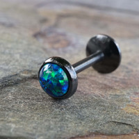 Black IP Sapphire Blue Green Fire Opal 16 Gauge Cartilage Earring Tragus Monroe Helix Piercing You Choose Stone Size