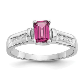 10k White Gold Em. Octagon Rhodolite Garnet & Channel Set Diamond Ring