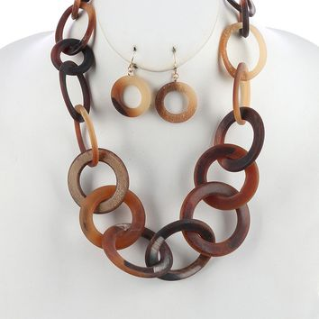 Brown Turtoise Lucite Stone Chunky Link Necklace And Earring Set