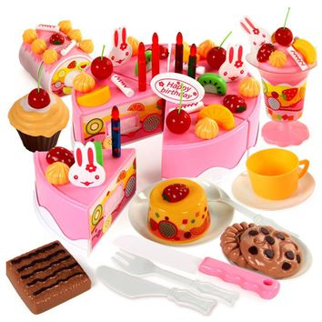 75pcs Birthday Cake Pretend Play Food Toy Set Kitchen Cutting Toy kit With Fruits Candle Play house toy gift for Kids Girl Boys