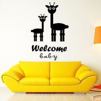 Welcome Baby Giraffe Cool Home Sweet Home Decor Living Room Wall Decal Unique Gift (z2575)