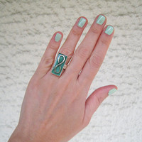 Infinity knot ring mint green. Emerald vert moss, rectangle statement silver adjustable love friendship teenager bohemian jewelry custom