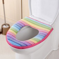 Popular Sale Toilet Seat Cover Washable Bathroom Overcoat Toilet Case Zipper Lid Closestool Striped Warm Toilet Mat Cushion