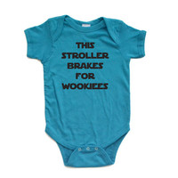 "Apericots ""This Stroller Brakes for Wookiees"" Star Wars Starwars Inspired Short Sleeve Baby Bodysuit"