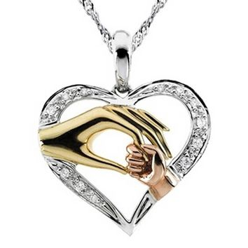 Mother And Child Pendant Gift For Mom Golden Mom Charm Necklace Hand Heart Love Mom Family Jewelry