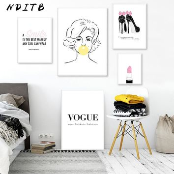 Marilyn Monroe Bubble Lipstick Fashion Art Posters Pink Beauty Prints Canvas Fashion Painting Wall Picture Girls Bedroom Decor