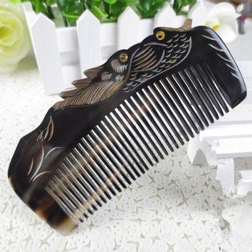 lover birds design Natural Buffalo horn Comb Wide Tooth No-static head Massage Hair Brush Health care Hair Styling combs peine