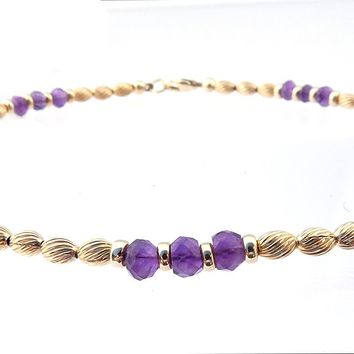 14k Gold-Filled Amethyst Anklet | Transformation, Intuition, & Spiritual Awareness Ankle Bracelet | Healing Crystals