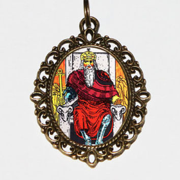 Tarot Emperor Necklace, Mystical, Occult, Tarot Card Jewelry, The Emperor, King, Bronze Oval Pendant