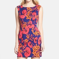'Vanessa' Print Stretch Cotton Sheath