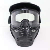 Drss Safty Airsoft Paintball Tactical Full Face Mask With Goggle First Style Black(BK)