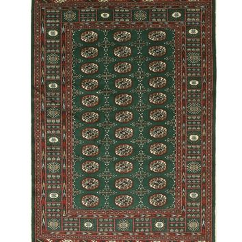 EORC Hand-knotted Wool Green Traditional Oriental Bokhara Rug