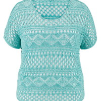 Plus Size - Open Stitch Poncho - Sea Green