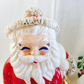 Ceramic Santa Claus Bank With Spaghetti Trim Made In Japan No Stopper