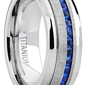 8mm Eternity Titanium Wedding Band Engagement Ring W/ Blue Simulated Sapphire Cubic Zirconia Princess CZ