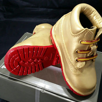 Gold Timberland Boots- Custom Timberlands- Red Bottom Timberlands- Mens- Womens- Kids Timberlands