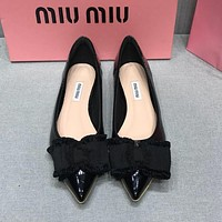 MIU MIU Trending Women Stylish Pointed Bowknot High Heels-Heeled Shoes Sandals