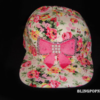 Fashion flower bow Hats Snapback Swarovski Hip-Hop Adult adjustable Baseball cap