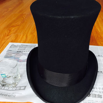 25cm (9.8 inch) Steampunk / Mad Hatter Top Hat , Victorian Vintage Traditional Wool Fedoras Hat Millinery/ Magician  Hat Trick