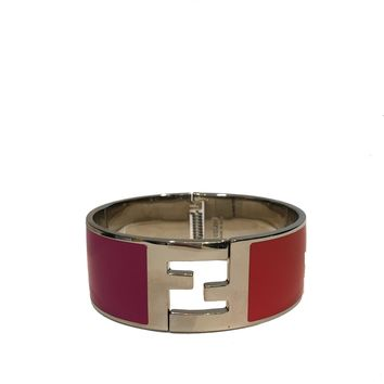 Fendi Women's Fuschia/Orange Clic Clac Bracelet 8AG137