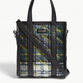 BALENCIAGA Bazar xxs leather and plaid wool tote