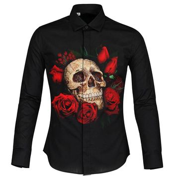 Skull Print Man Shirt Plus Size 2XL Cool Design