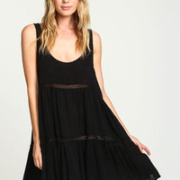 Black Crepe Crochet Slip Dress - LoveCulture