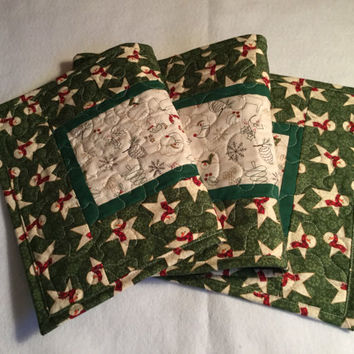 Christmas Quilted Table Runner, Snowman Quitled Table Runner Green White, Quilted Christmas Runner