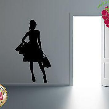 Wall Stickers Vinyl Decal Hot Girl Shopping Fashion High Heels Hair Do Unique Gift EM215