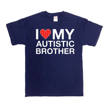 Autism Awareness T Shirt I Love My Autistic Brother Shirt Autism Shirt Puzzle Piece Autism Support Sibling Shirts Mens Ladies Tee - SA584