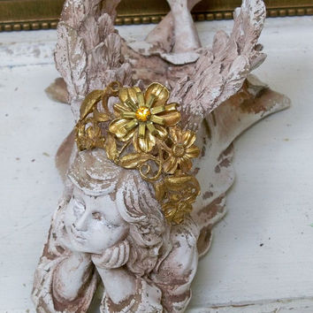 Angel statue with handmade crown very distressed large wings shabby chic home decor Anita Spero