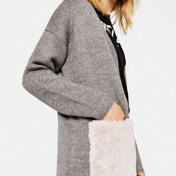 Open front cardigan with faux fur pockets - Knitwear - Bershka United States