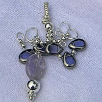 Wire Sculptured Silver, Purple and Rose Quartz Abstract Floral Pendant