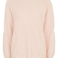 Open Back Ribbed Blouson Knitted Jumper - Clothing