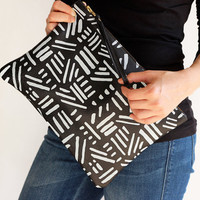 Large Leather Clutch - Screen Printed Black and White