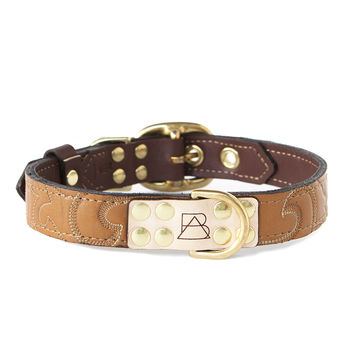 Mahogany Brown Dog Collar With Desert Sand Leather + Brown/Ivory Stitching