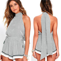 Plaid Sleeveless Jumpsuit [8998744260]