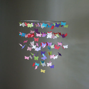 Large Multi-Colored Butterfly Swarm Floating Mobile
