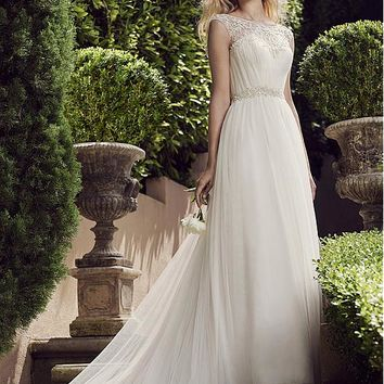 [149.99] Alluring Tulle Bateau Neckline A-line Wedding Dresses With Beaded Embroidery - dressilyme.com