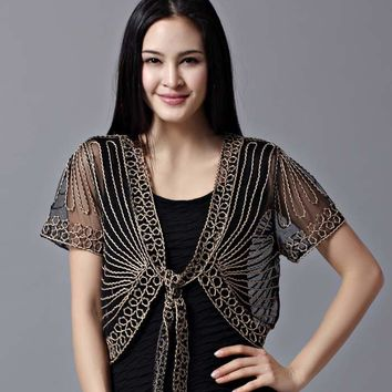 Free All-match short-sleeve handmade crochet lacing women's shrug small cape cutout cardigan sweater