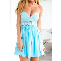 FASHION BEACH STRAPLESS LACE DRESS